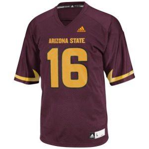 ASU Adidas NCAA Men's Football #16 Replica Maroon Jersey