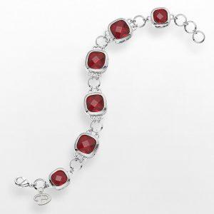Arizona Diamondbacks Legend Silver Tone Red Glass Logo Charm Bracelet