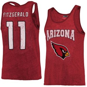 Men's Arizona Cardinals Larry Fitzgerald Majestic Cardinal Tri-Blend Name & Number Tank Top