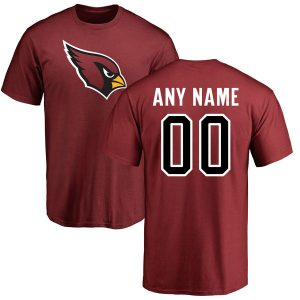 Men's Arizona Cardinals NFL Pro Line Maroon Any Name & Number Logo Personalized T-Shirt