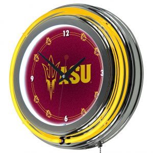 ASU Chrome Double-Ring Neon Wall Clock