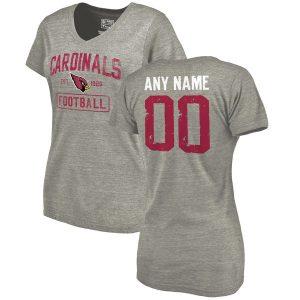Arizona Cardinals Distressed Custom Name & Number Tri-Blend V-Neck T-Shirt