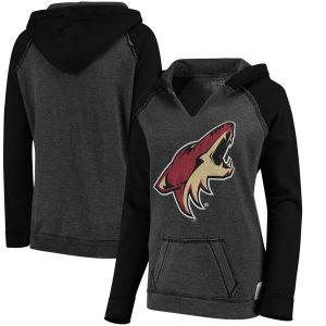 Arizona Coyotes Women's Black Relaxed Notched Pullover Hoodie