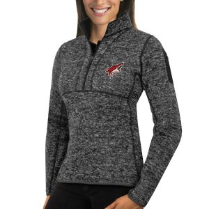 Arizona Coyotes Women's Charcoal Fortune 1/2-Zip Pullover Sweater