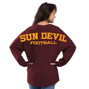 Arizona State Sun Devils Women's Maroon Football Sweeper Long Sleeve Oversized Top