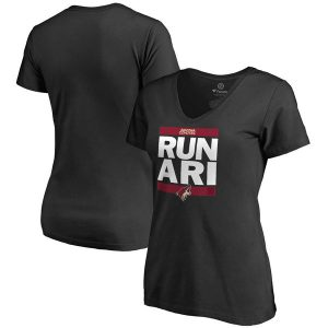 Coyotes Women's Black RUN-CTY Slim Fit V-Neck