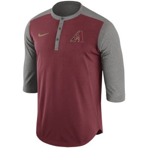 Diamondbacks Nike Crimson Dry Henley 3/4-Sleeve Performance