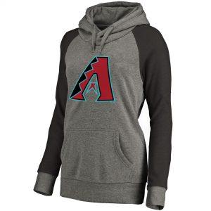 Diamondbacks Women's Ash Primary Logo Raglan Sleeve Tri-Blend Pullover Hoodie