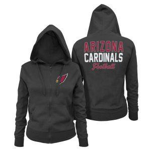 Women's Arizona Cardinals 5th & Ocean by New Era Black Halfback Full-Zip Hoodie