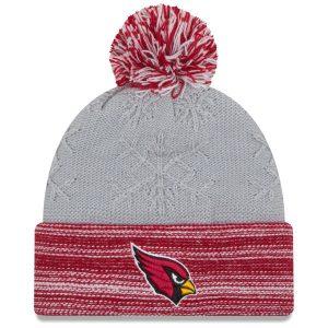 Women's Arizona Cardinals New Era Gray/Cardinal Snow Crown Redux Cuffed Knit Hat with Pom