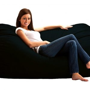 FUF 6 ft. Comfort Twill Bean Bag Media Lounger – Black